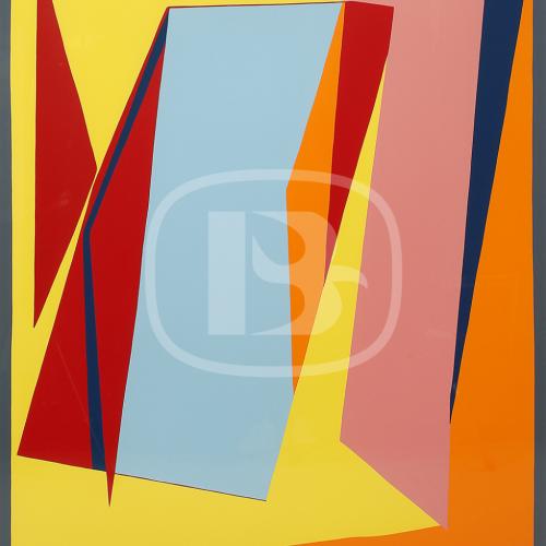 Nord-Ouest - Färgserigrafi, signerad och daterad av Richard Mortensen 1987.