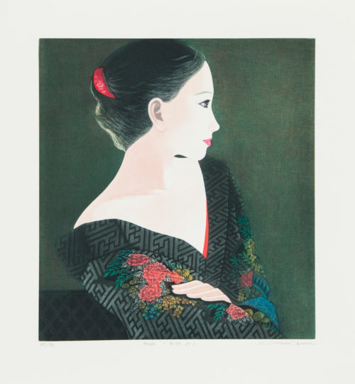 Hiroko - Färgmezzotint, signerat av Ushio Takahashi.