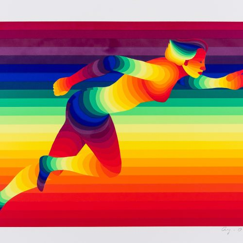 """100 m Damer - Färgserigrafi ur mappen """"Olympiska Spelen"""", signerad och daterad 1988 av Ay-O."""