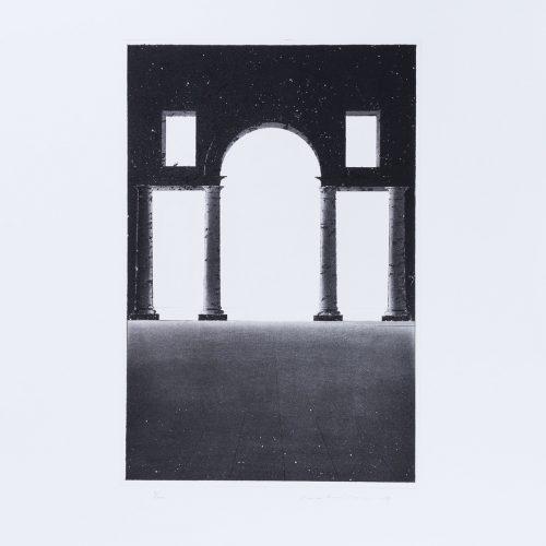 Arkitektura Nr 13 - Akvatint torrnålsgravyr, signerad av Pentti Lumikangas.