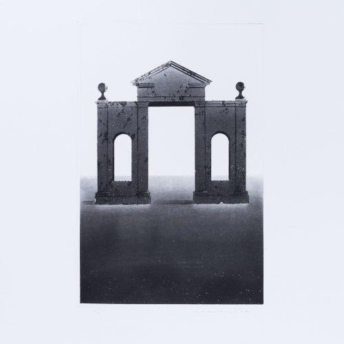 Arkitektura Nr 11 - Akvatint torrnålsgravyr, signerad av Pentti Lumikangas.