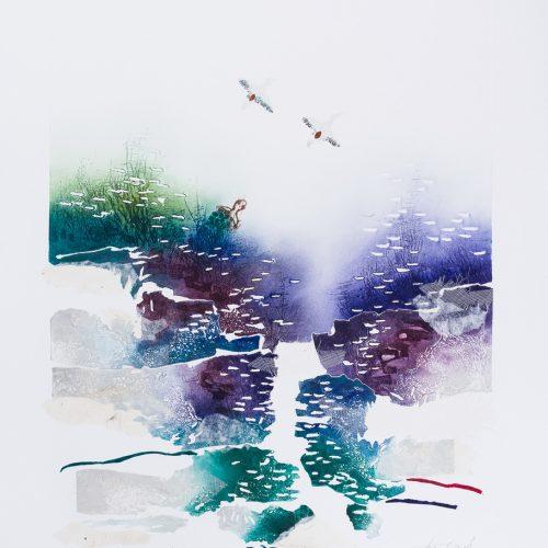 Sköldpaddan & De två änderna - Collage, präglad färgetsning, signerad och daterad 1992 av Francis Méan.