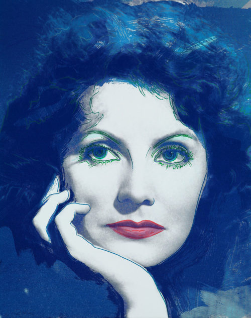 """Dreaming - Färgserigrafi, (1 av 6) ur mappen """"Greta Garbo"""" som påbörjades av Andy Warhol, men slutfördes av Rupert Jasen Smith på grund av Andy Warhols plötsliga bortgång. Verket är signerat av Rupert Jasen Smith."""