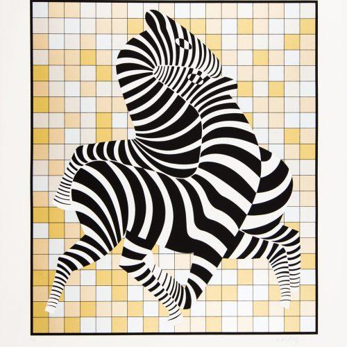 Zebror (guld/silver) - Färgserigrafi, signerat av Victor Vasarely.