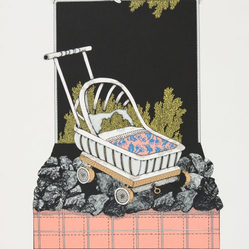 Barnvagnen - Färgserigrafi, signerad och daterad av Raimo Kanerva 1978.