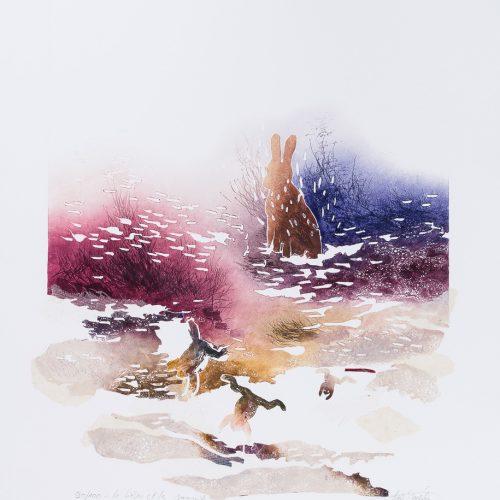 Haren & Grodorna - Collage, präglad färgetsning, signerad och daterad 1992 av Francis Méan.
