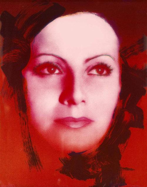 """The Kiss - Färgserigrafi, (1 av 6) ur mappen """"Greta Garbo"""" som påbörjades av Andy Warhol, men slutfördes av Rupert Jasen Smith på grund av Andy Warhols plötsliga bortgång. Verket är signerat av Rupert Jasen Smith."""