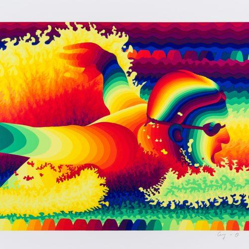 """Fjärilsim - Färgserigrafi ur mappen """"Olympiska Spelen"""", signerad och daterad 1988 av Ay-O."""