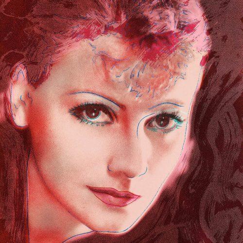 """New Age - Färgserigrafi, (1 av 6) ur mappen """"Greta Garbo"""" som påbörjades av Andy Warhol, men slutfördes av Rupert Jasen Smith på grund av Andy Warhols plötsliga bortgång. Verket är signerat av Rupert Jasen Smith."""