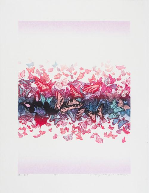 Fjärilsdans - Färgetsning, signerad och daterad av Chizuko Yoshida 1987.