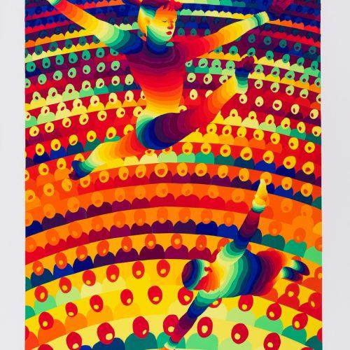 """Bom/Barr - Färgserigrafi ur mappen """"Olympiska Spelen"""", signerad och daterad 1988 av Ay-O."""