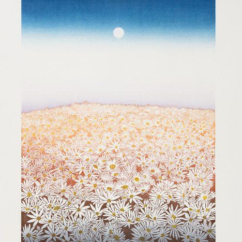 Augustimåne - Färgetsning, signerad och daterad av Chizuko Yoshida 1987.