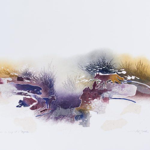 Vargen & Lammet - Collage, präglad färgetsning, signerad och daterad 1992 av Francis Méan.