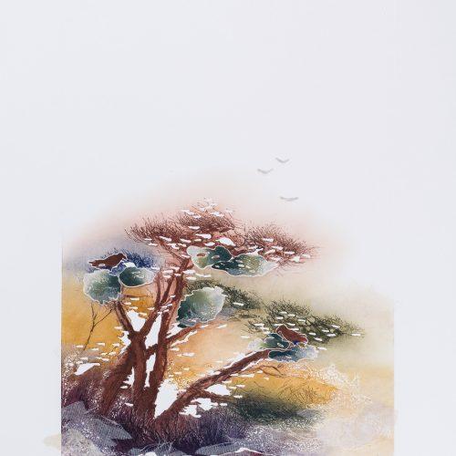 Gamarna & Duvorna - Collage, präglad färgetsning, signerad och daterad 1992 av Francis Méan.