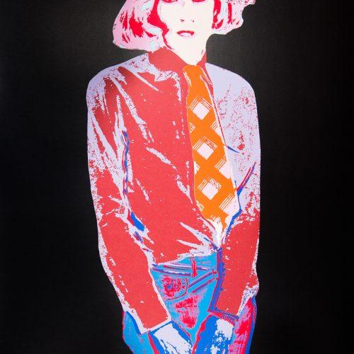 Warhol V (Svart) - Handkolorerad serigrafi, signerad av Kari Riipinen.