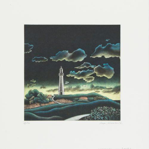 Daybreak - Mezzotint etsning, signerad och daterad av Masahisa Hirota 1987.