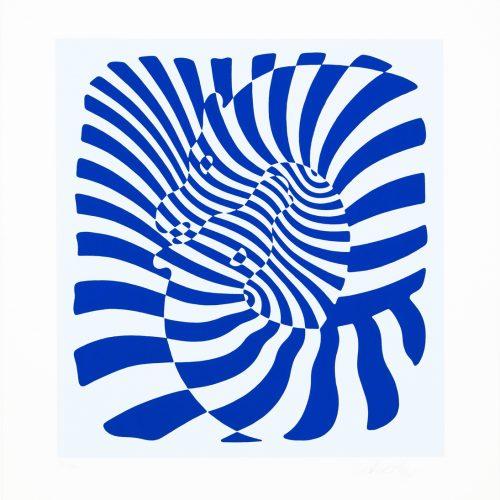 Zebrapar (blå) - Färgserigrafi, signerat av Victor Vasarely.