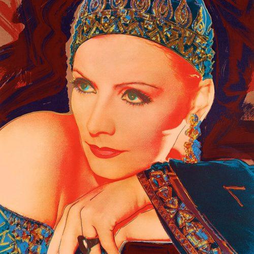 """Mata hari - Färgserigrafi, (1 av 6) ur mappen """"Greta Garbo"""" som påbörjades av Andy Warhol, men slutfördes av Rupert Jasen Smith på grund av Andy Warhols plötsliga bortgång. Verket är signerat av Rupert Jasen Smith."""
