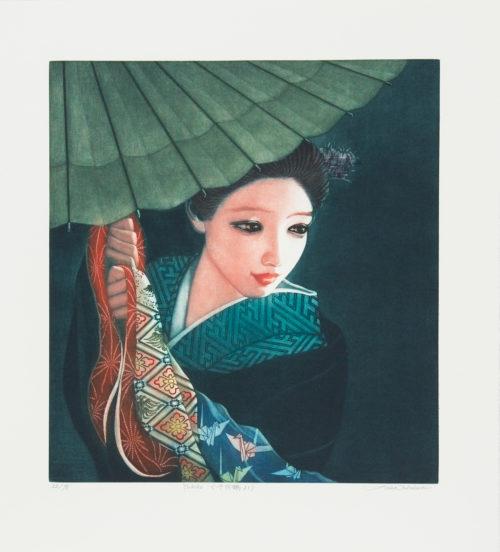 Yukiko - Färgmezzotint, signerat av Ushio Takahashi.