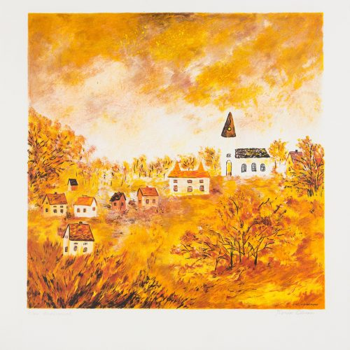 Kyrkbyn - Litografi, signerad av Karin Olsson.