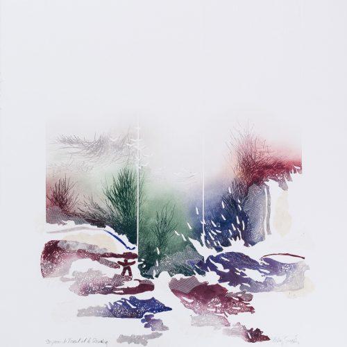 Forsen & Floden - Collage, präglad färgetsning, signerad och daterad 1992 av Francis Méan.