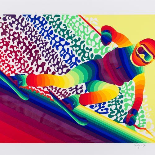 """Störtlopp - Färgserigrafi ur mappen """"Olympiska Spelen"""", signerad och daterad 1988 av Ay-O."""