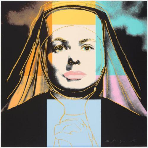 """Ingrid Bergman """"The Nun"""" - Färgserigrafi, ett av tre verk från den berömda portfolion med Andy Warhols tre porträtt av Ingrid Bergman gavs ut 1983 av Galerie Börjeson."""