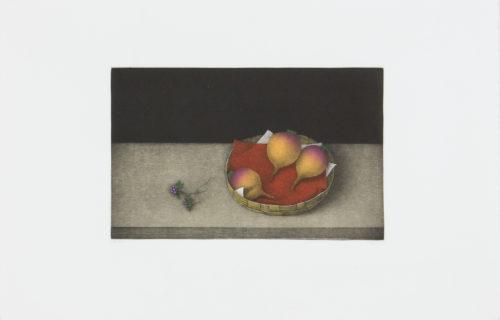 Turnips in a Basket - Mezzotint, signerat av Tomoe Yokoi.