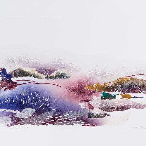 Grodan & Råttan - Collage, präglad färgetsning, signerad och daterad 1992 av Francis Méan.