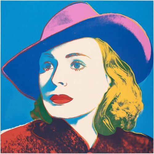"""Ingrid Bergman """"With Hat"""" - Färgserigrafi, ett av tre verk från den berömda portfolion med Andy Warhols tre porträtt av Ingrid Bergman gavs ut 1983 av Galerie Börjeson. Signerat av Andy Warhol."""