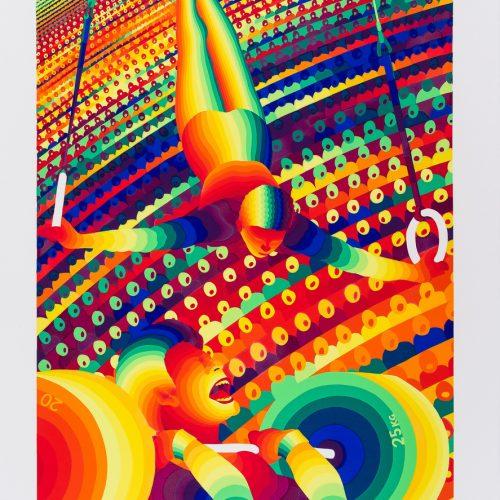"""Romerska ringar/Tyngdlyftning - Färgserigrafi ur mappen """"Olympiska Spelen"""", signerad och daterad 1988 av Ay-O."""