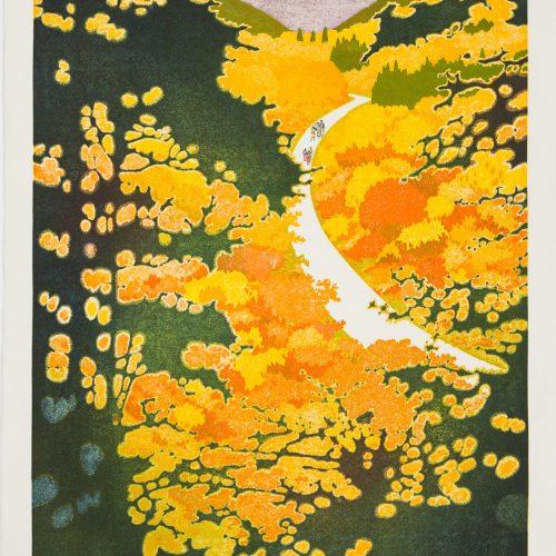 Snow Country II - Litografi, signerat och daterad av Tōshi Yoshida 1986.