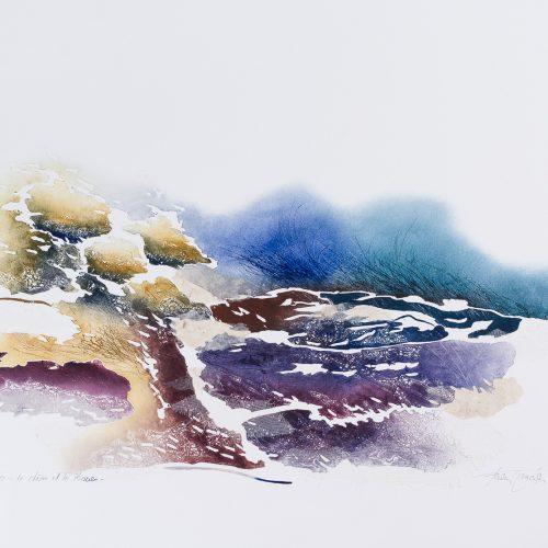 Eken & Vasstrået - Collage, präglad färgetsning, signerad och daterad 1992 av Francis Méan.