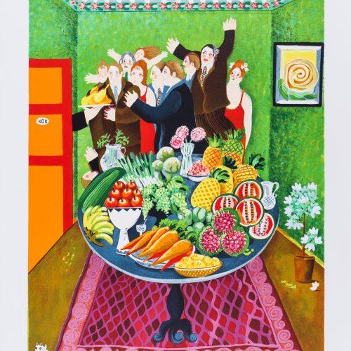 Smörgåsbordet - Handkolorerad litografi, signerad av Marion Belin.