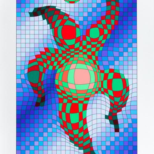 Clown med boll - Färgserigrafi, signerat av Victor Vasarely.