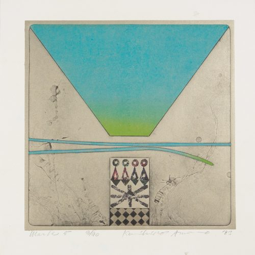 Work 5 - Träsnitt med relief, signerad och daterad av Kunihiro Amano 1983.