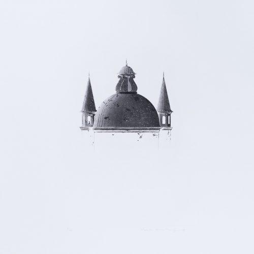 Arkitektura Nr 2 - Akvatint torrnålsgravyr, signerad av Pentti Lumikangas.