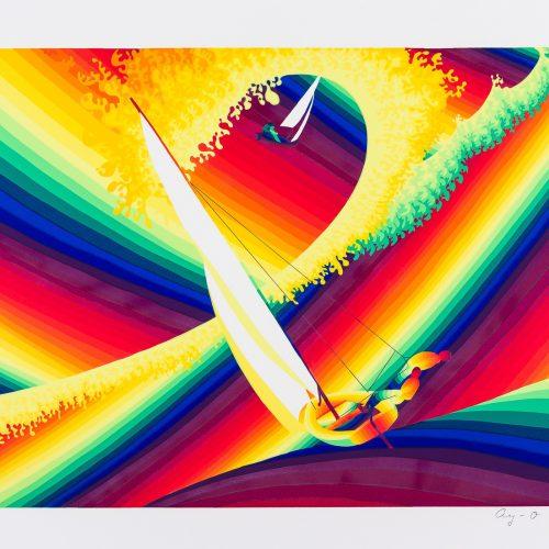 """Flying dutchman - Färgserigrafi ur mappen """"Olympiska Spelen"""", signerad och daterad 1988 av Ay-O."""