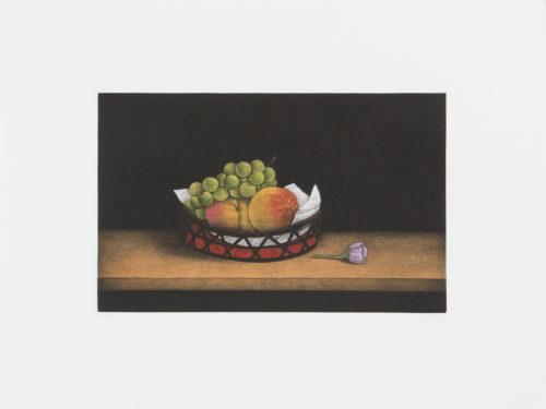 Peaches and Grapes - Mezzotint, signerat av Tomoe Yokoi.