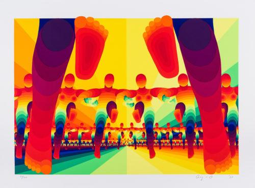 """Inmarschen - Färgserigrafi ur mappen """"Olympiska Spelen"""", signerad och daterad 1988 av Ay-O."""
