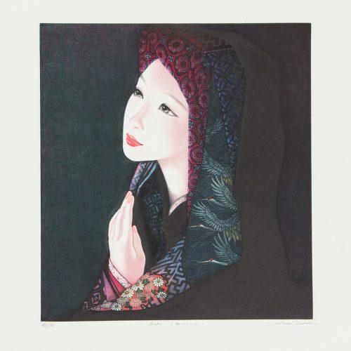 Asako - Färgmezzotint, signerat av Ushio Takahashi.