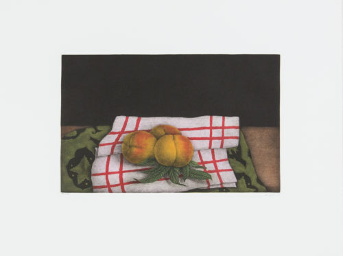 Peaches - Mezzotint, signerat av Tomoe Yokoi.