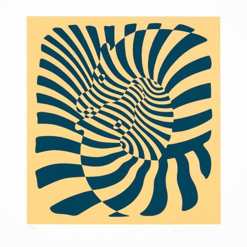 Zebrapar (orange) - Färgserigrafi, signerat av Victor Vasarely.