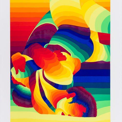 """Brottning - Färgserigrafi ur mappen """"Olympiska Spelen"""", signerad och daterad 1988 av Ay-O."""