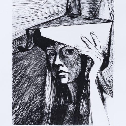 """Utan mask - Torrnål mezzotint ur mappen """"Mörkrets ljus"""", signerad av Marjatta Nuoreva."""