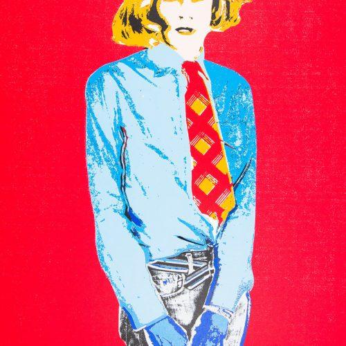 Warhol III (Röd) - Handkolorerad serigrafi, signerad av Kari Riipinen.