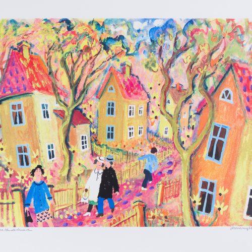 Gula gatan - Handkolorerad litografi, signerad av Jöran Nyberg.