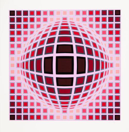 """Louisiana 1 - Färgserigrafi, (1 av 6) ur mappen """"Louisiana"""" utgiven av Galerie Börjeson 1985. Signerad av Victor Vasarely."""