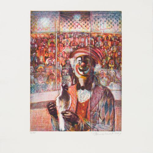 Clown med duva - Färgetsning, signerad av Krishna Reddy.