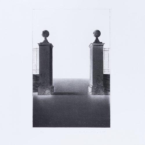 Arkitektura Nr 1 - Akvatint torrnålsgravyr, signerad av Pentti Lumikangas.